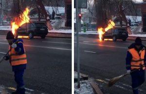 Казнет шутит над дворником из видео с горящим BMW X5